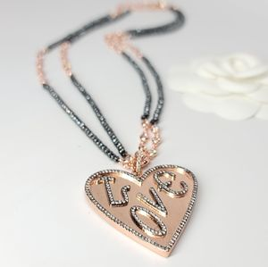 Rose Gold LOVE Hematite Long Chain Necklace NEW